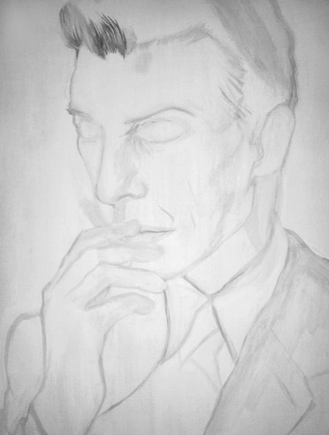 David bowie davidbowie aleena sharif aleenasharif.co.uk gouache paint painting monochrome black white canvas work in progress WIP