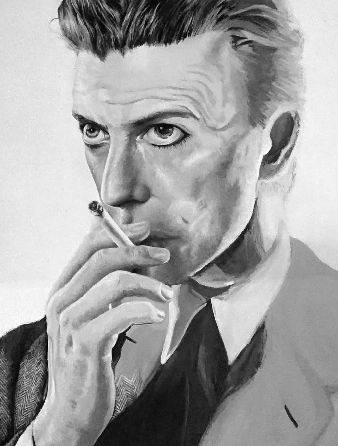 David bowie davidbowie aleena sharif aleenasharif.co.uk gouache paint painting monochrome black white canvas